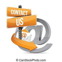 e, na, znak, kontakt, projektować, ilustracja, poczta