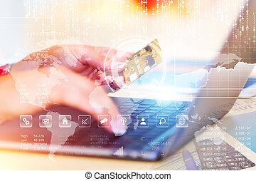 e-negócio, shopping linha, e, internet, pagamentos, conceito
