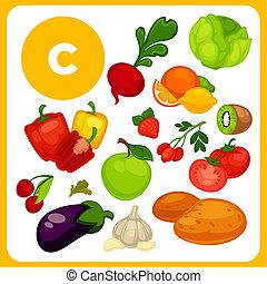 e., nourriture, isolé, illustration, vitamine, dessin animé