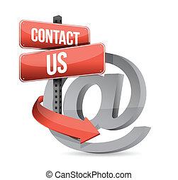 e, nous, signe, contact, conception, illustration, courrier