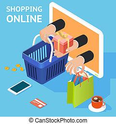 e- obchod, pojem, nakupování, nebo, stav připojení