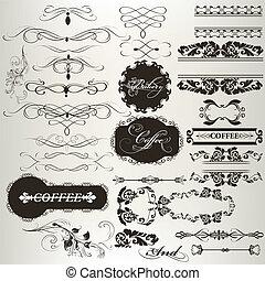 e, ontwerp, verzameling, calligraphic