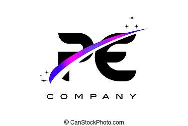 e, púrpura, pe, p, negro, carta, swoosh, diseño, magenta,...