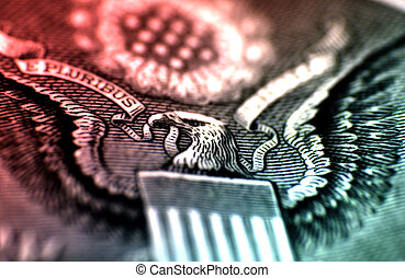 E Pluribus - Macro Photo of a Dollar With Color and BLur...