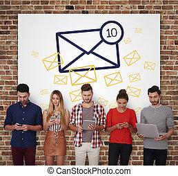 e-poczta, ikona, na, ściana