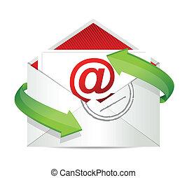 e-post, begrepp, design, illustration