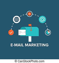 e-post, marknadsföra, illustration, lägenhet