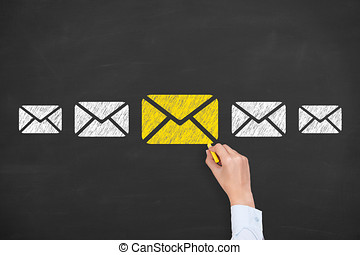 e-post marknadsföra, newsletter, och, volym post, begreppen, på, blackboard