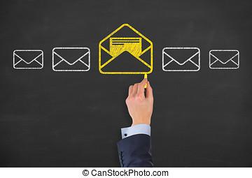 e-post marknadsföra, newsletter, och, volym post, begreppen
