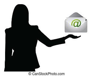 e-post, visande, womanaffär