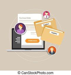 e-procurement, ラップトップ, オンラインで, 手に入れなさい, procurement, インターネット