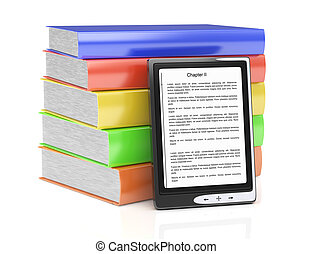 e-reader and stack of books isolated on white. 3d rendered ...