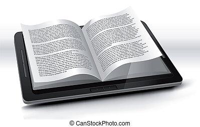 e-reader, dans, pc tablette