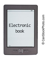 E-reader - Electronic book reader isolated over white ...