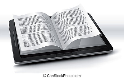 E-reader In Tablet PC - Ilustration of a tablet pc e-book...