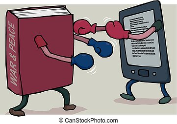 E-reader vs book - A traditional book picks a fight with a...