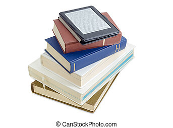 E-reader with blurred text on stack of printed books