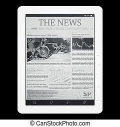 E-reader with newspaper application isolated on black top ...
