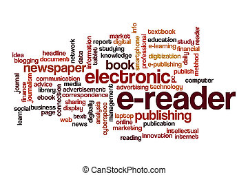 E-reader word cloud concept on white background