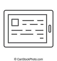 E reading thin line icon, e learning and education, tablet sign vector graphics, a linear pattern on a white background, eps 10.