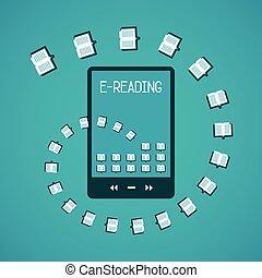 e-reading, vetorial, conceito, em, apartamento, estilo