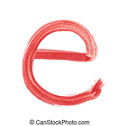 e - Red handwritten letter lower case