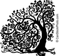 e, sagoma, vendimia, spirali, foglie, rami, albero, estafar...