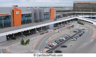 e, sheremetyevo, congé, terminal, aéroport, voitures, venir