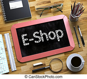 E-Shop Concept on Small Chalkboard. 3D.