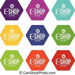 E shop icons set 9 vector