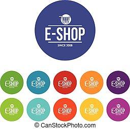 E shop icons set vector color