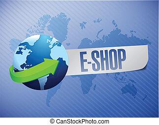 e shop. shop world map illustration