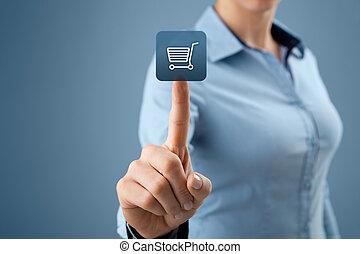 E-shop - Woman click on virtual e-shop button with shopping...