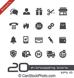 e-shopping, ícones, //, básico