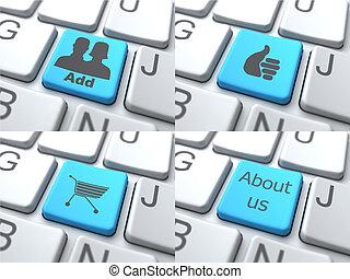 E-Shopping Concept - Blue Button on Keyboard.
