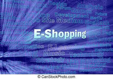E-shopping concept in blue virtual space