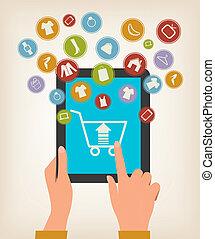e-shopping, concept., mani, toccante, uno, tavoletta, con, shopping, icons., vector.