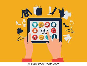 e-shopping, concept., mani, toccante, uno, tavoletta, con, shopping, icons.