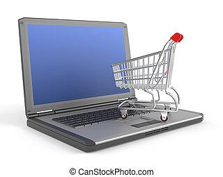 e-shopping concept - a shopping chart on top of a laptop as...