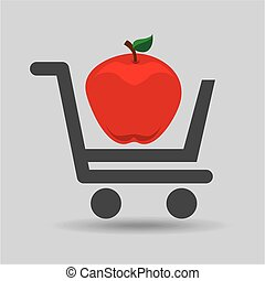 e-shopping fresh apple fruit design vector illustration eps...