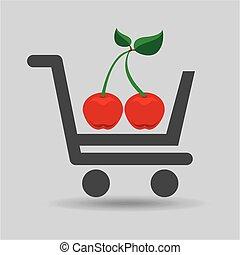 e-shopping fresh cherry fruit design vector illustration eps...