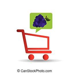 e-shopping fresh grape fruit design vector illustration eps...
