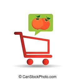 e-shopping fresh orange fruit design vector illustration eps...