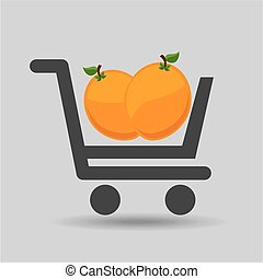 e-shopping fresh peach fruit design vector illustration eps...