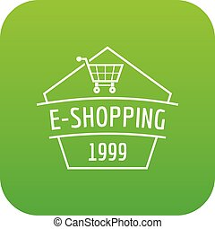 E shopping icon green vector isolated on white background