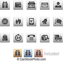 E-Shopping Icon set - Metalbox Series