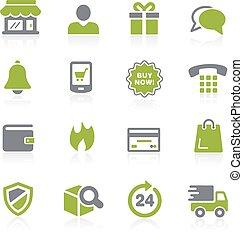 e-shopping, icons., natura