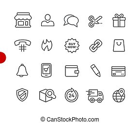 e-Shopping Icons // Red Point Series - Vector line icons for...