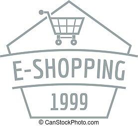 E shopping logo, simple gray style - E shopping logo. Simple...