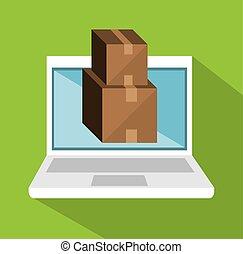 e-shopping package cargo design icon vector illustration